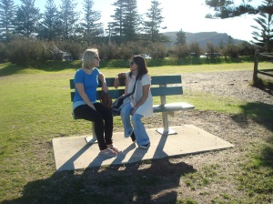 NZ friend and I re-enacting a particularly dramatic bench scene. We were pretty good, it's a shame there were no crew around to witness our excellence and give us parts in the show!
